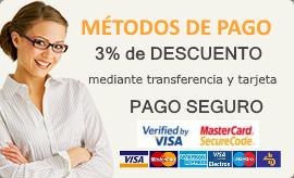 Descuento del 3% con pago por transferencia y tarjeta